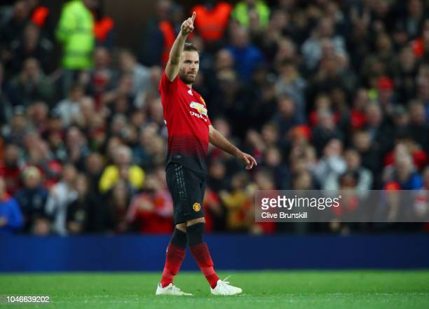 Juan Mata of Manchester United celebrates after scoring his team's first goal during the Premier League match between Manchester United and Newcastle...