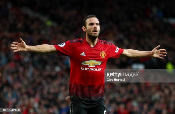 Juan Mata of Manchester United celebrates after scoring his team's second goal during the Premier League match between Manchester United and Fulham...