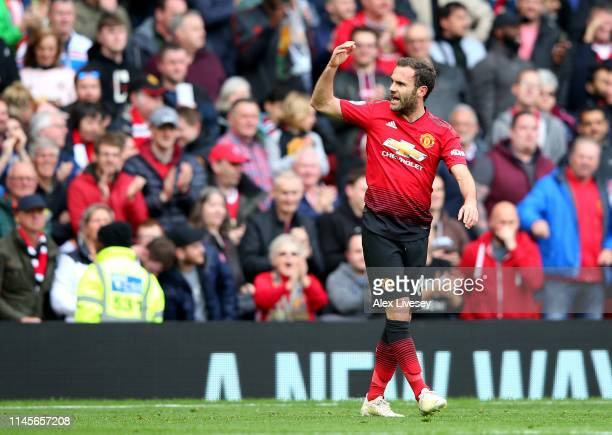 Juan Mata of Manchester United celebrates after scoring his team's first goal during the Premier League match between Manchester United and Chelsea...