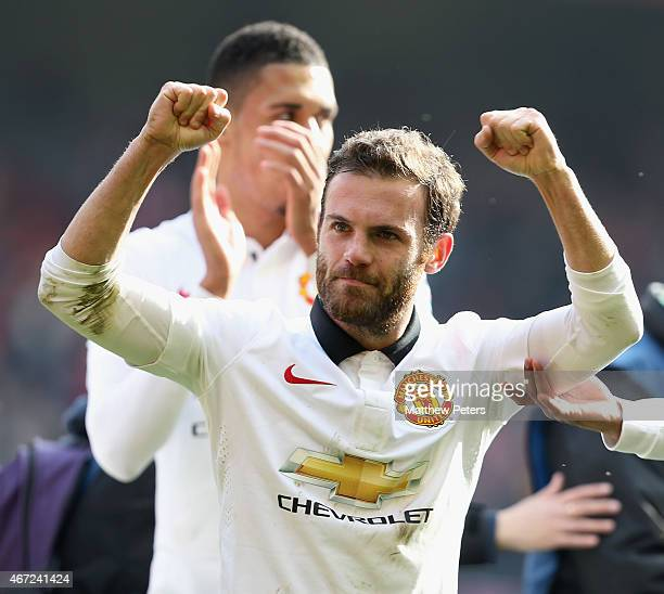 Juan Mata of Manchester United celebrates after the Barclays Premier League match between Liverpool and Manchester United at Anfield on March 22 2015...