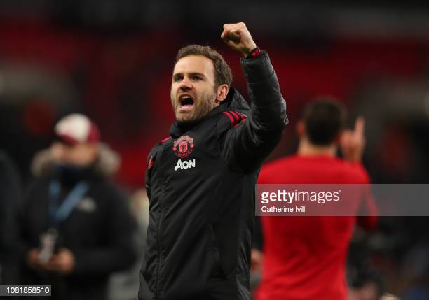 Juan Mata of Manchester United celebrates after the Premier League match between Tottenham Hotspur and Manchester United at Wembley Stadium on...