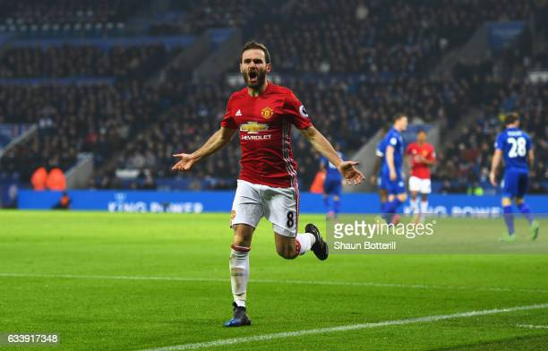 Juan Mata of Manchester United celebrates as he scores their third goal during the Premier League match between Leicester City and Manchester United...