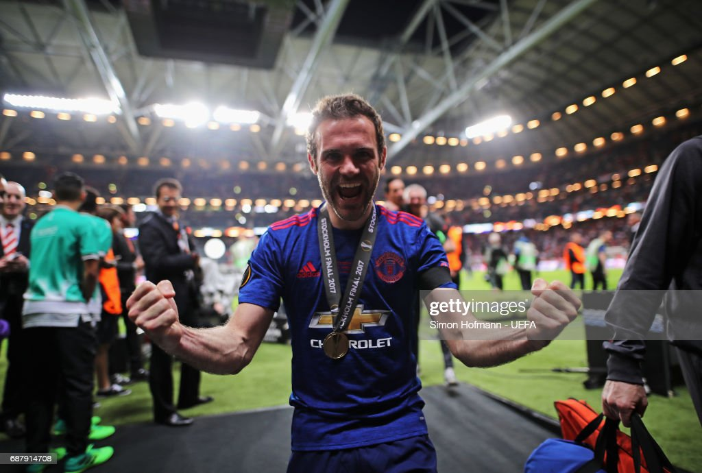 Juan Mata of Manchester United celebrates following the UEFA Europa League Final between Ajax and Manchester United at Friends Arena on May 24, 2017 in Stockholm, Sweden.