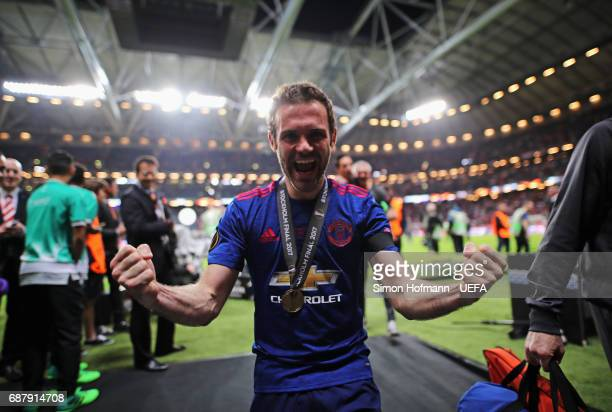 Juan Mata of Manchester United celebrates following the UEFA Europa League Final between Ajax and Manchester United at Friends Arena on May 24 2017...