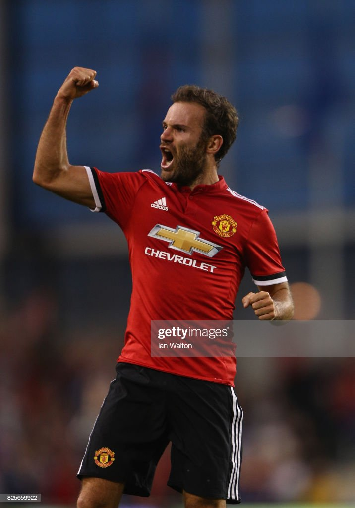 Juan Mata of Manchester United celebrates scoring a goal during the International Champions Cup match between Manchester United and Sampdoria at Aviva Stadium on August 2, 2017 in Dublin, Ireland.
