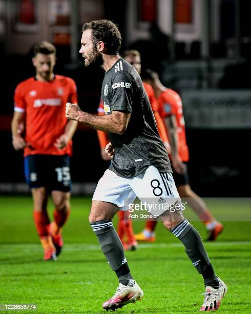 Juan Mata of Manchester United celebrates scoring a penalty to make the score 0-1 during the Carabao Cup Third Round match between Luton Town and...