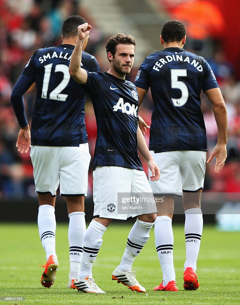 Juan Mata of Manchester United celebrates scoring during the Barclays Premier League match between Southampton and Manchester United at St Mary's Stadium on May 11, 2014 in Southampton, England.