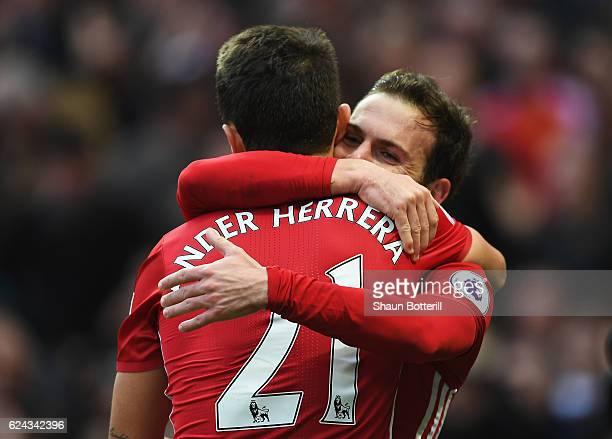 Juan Mata of Manchester United celebrates scoring his sides first goal with Ander Herrera of Manchester United during the Premier League match...