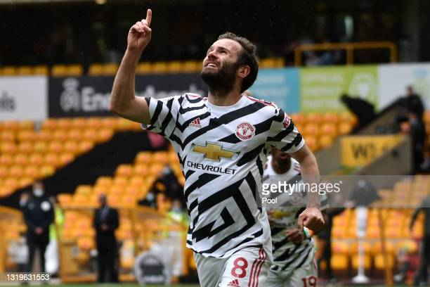 Juan Mata of Manchester United celebrates scoring his sides second goal during the Premier League match between Wolverhampton Wanderers and...