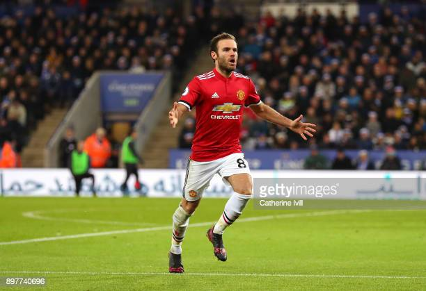 Juan Mata of Manchester United celebrates scoring his team's second goal during the Premier League match between Leicester City and Manchester United...