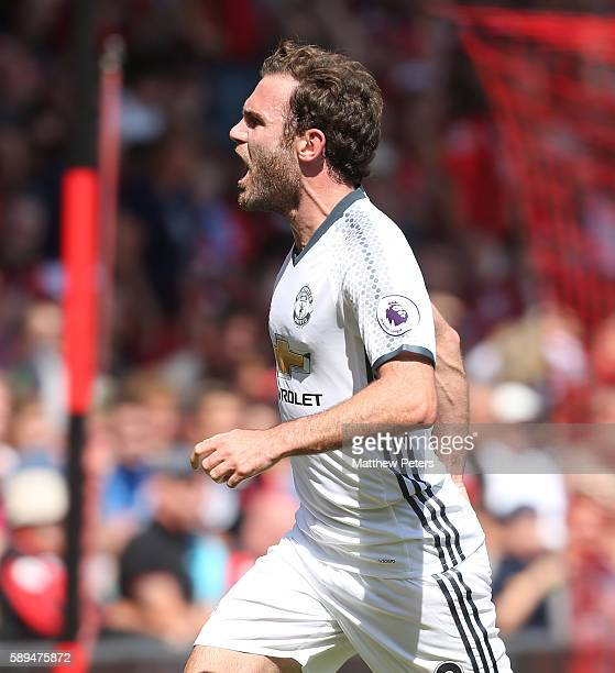 Juan Mata of Manchester United celebrates scoring the first goal to make the score 01 during the Premier League match between AFC Bournemouth and...