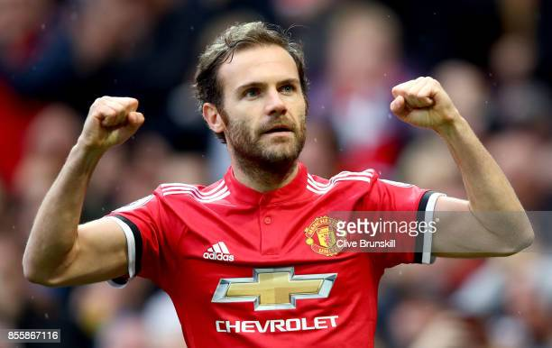 Juan Mata of Manchester United celebrates scoring the opening goal during the Premier League match between Manchester United and Crystal Palace at...