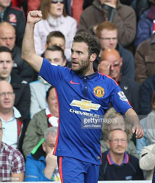 Juan Mata of Manchester United celebrates scoring their first goal during the Barclays Premier League match between Sunderland and Manchester United...