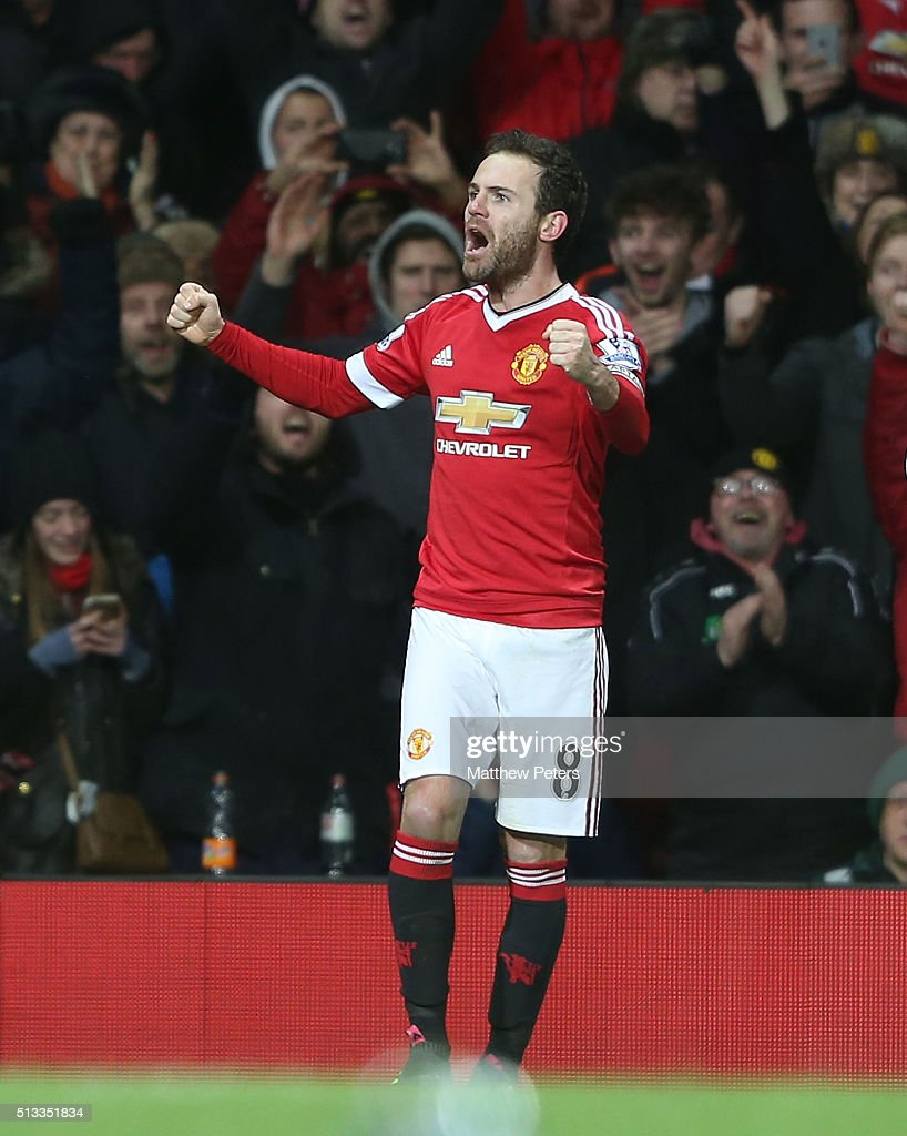 Juan Mata of Manchester United celebrates scoring their first goal during the Barclays Premier League match between Manchester United and Watford at Old Trafford on March 2, 2016 in Manchester, England.