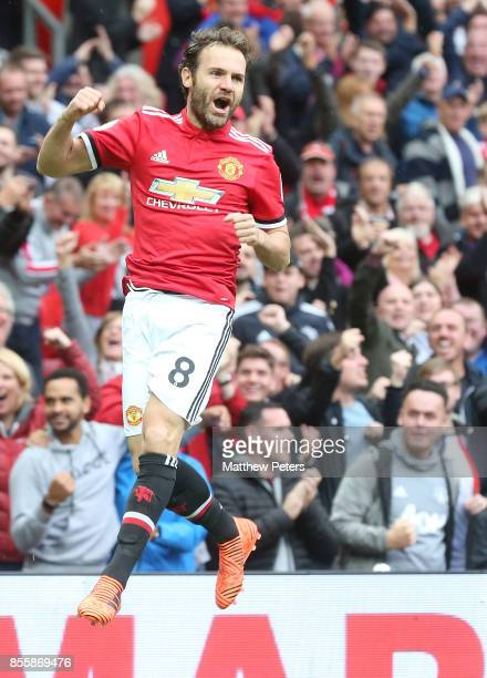 Juan Mata of Manchester United celebrates scoring their first goal during the Premier League match between Manchester United and Crystal Palace at...