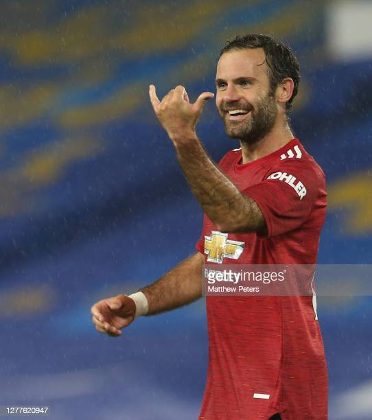 Juan Mata of Manchester United celebrates scoring their second goal during the Carabao Cup fourth round match between Brighton and Hove Albion and...