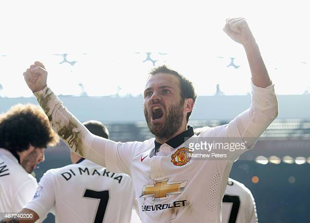 Juan Mata of Manchester United celebrates scoring their second goal during the Barclays Premier League match between Liverpool and Manchester United...