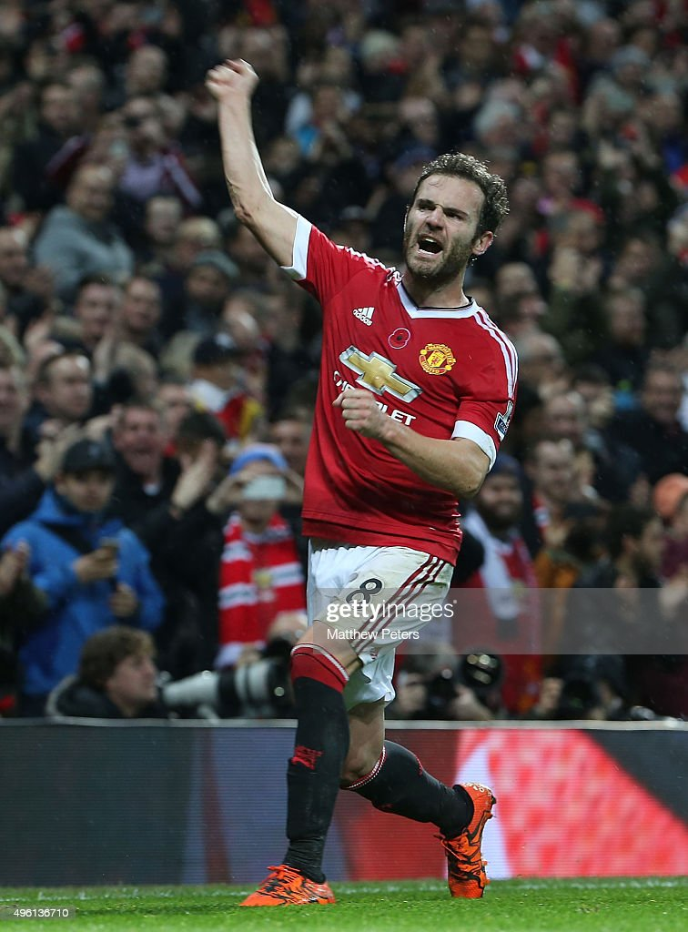 Juan Mata of Manchester United celebrates scoring their second goal during the Barclays Premier League match between Manchester United and West Bromwich Albion at Old Trafford on November 7, 2015 in Manchester, England.