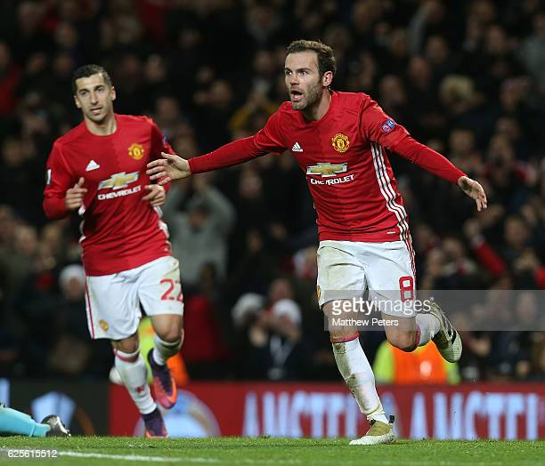 Juan Mata of Manchester United celebrates scoring their second goal during the UEFA Europa League match between Manchester United FC and Feyenoord at...