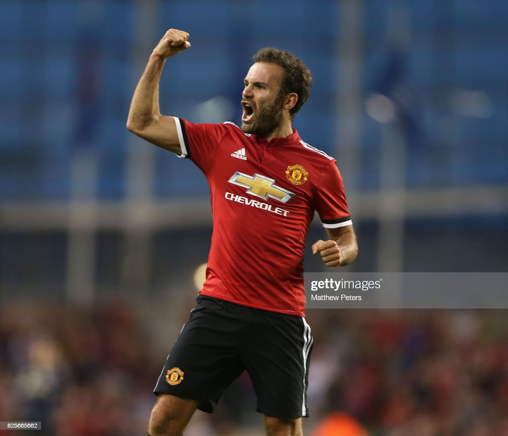 Juan Mata of Manchester United celebrates scoring their second goal during the International Champions Cup pre-season friendly match between Manchester United and Sampdoria at the Aviva Stadium on August 2, 2017 in Dublin, Ireland.