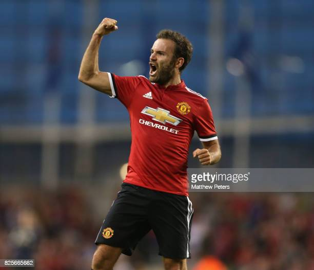 Juan Mata of Manchester United celebrates scoring their second goal during the International Champions Cup pre-season friendly match between...