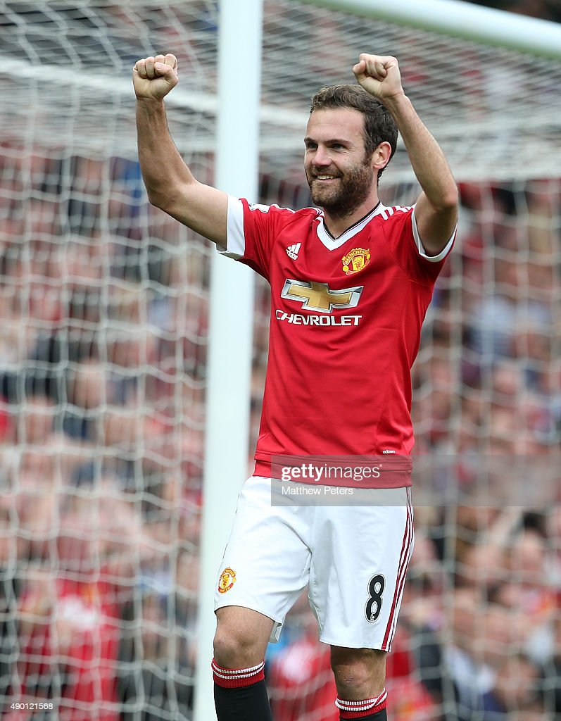 Juan Mata of Manchester United celebrates scoring their third goal during the Barclays Premier League match between Manchester United and Sunderland on September 26, 2015 in Manchester, United Kingdom.