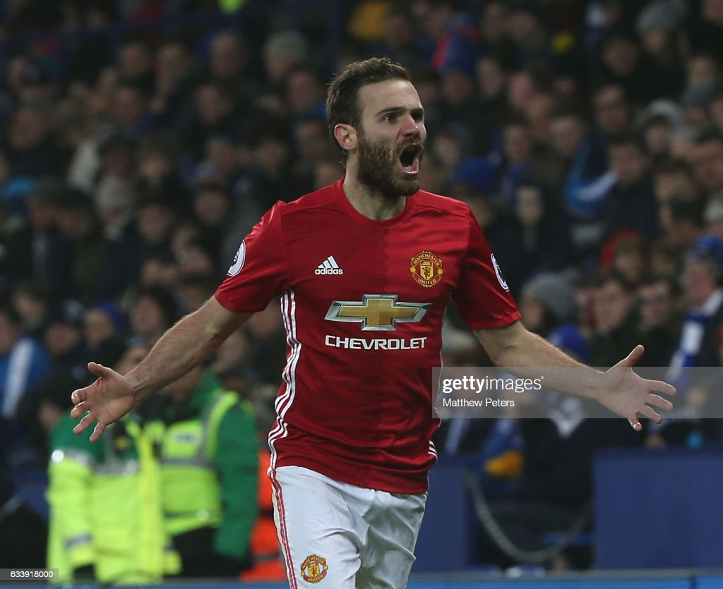 Juan Mata of Manchester United celebrates scoring their third goal during the Premier League match between Leicester City and Manchester United at The King Power Stadium on February 5, 2017 in Leicester, England.