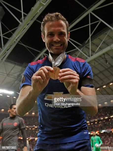Juan Mata of Manchester United celebrates with his winners medal after the UEFA Europa League Final between Ajax and Manchester United at Friends...