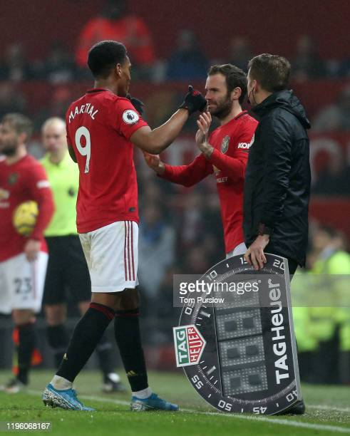 Juan Mata of Manchester United comes on as a substitute for Anthony Martial during the Premier League match between Manchester United and Newcastle...