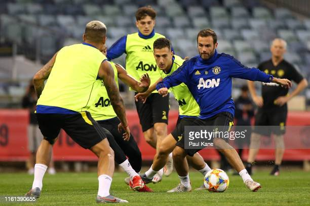 Juan Mata of Manchester United controls the ball during a Manchester United training session at the WACA on July 11 2019 in Perth Australia