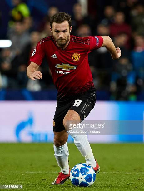 Juan Mata of Manchester United drives the ball forward during the UEFA Champions League Group H match between Valencia and Manchester United at...