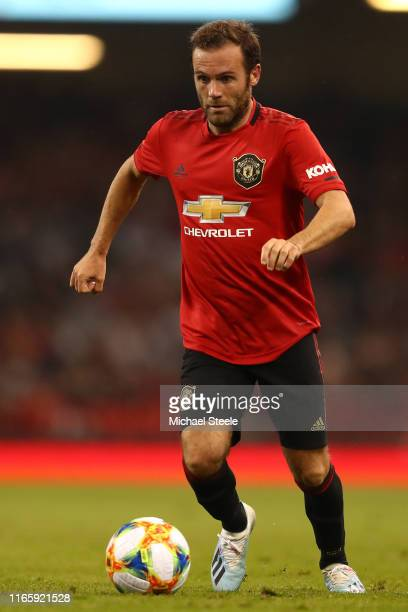Juan Mata of Manchester United during the 2019 International Champions Cup match between Manchester United and AC Milan at Principality Stadium on...