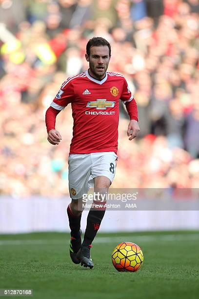 Juan Mata of Manchester United during the Barclays Premier League match between Manchester United and Arsenal at Old Trafford on February 28 in...