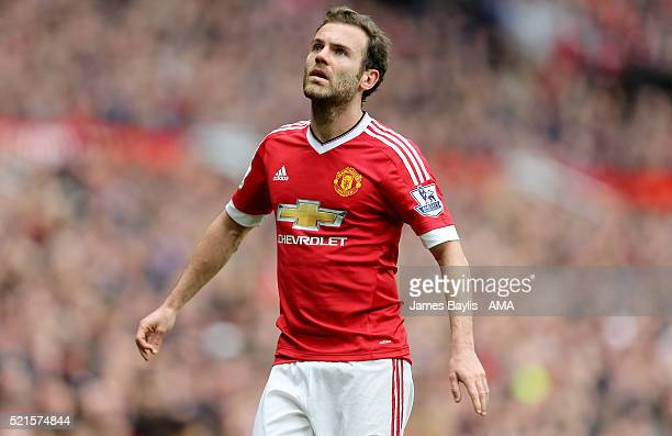 Juan Mata of Manchester United during the Barclays Premier League match between Manchester United and Aston Villa at Old Trafford on April 16 2016 in...