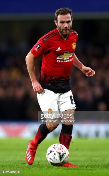 Juan Mata of Manchester United during the FA Cup fifth round match between Chelsea FC and Manchester United at Stamford Bridge on February 18 2019 in...