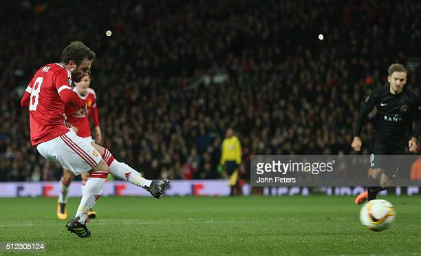Juan Mata of Manchester United has a penalty saved during the UEFA Europa League match between Manchester United and FC Midtjylland at Old Trafford...