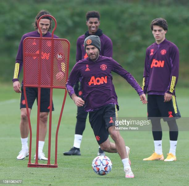 Juan Mata of Manchester United in action during a first team training session ahead of the UEFA Champions League Group H stage match between...