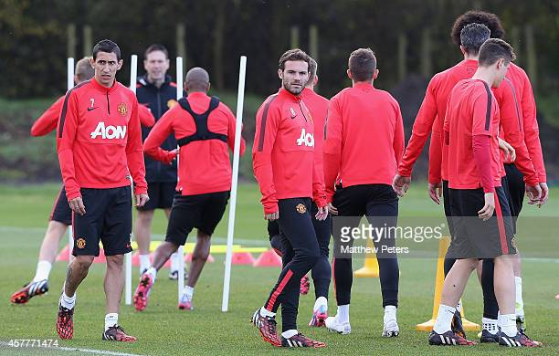 Juan Mata of Manchester United in action during a first team training session at Aon Training Complex on October 24, 2014 in Manchester, England.