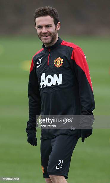 Juan Mata of Manchester United in action during a first team training session at Aon Training Complex on January 30 2014 in Manchester England