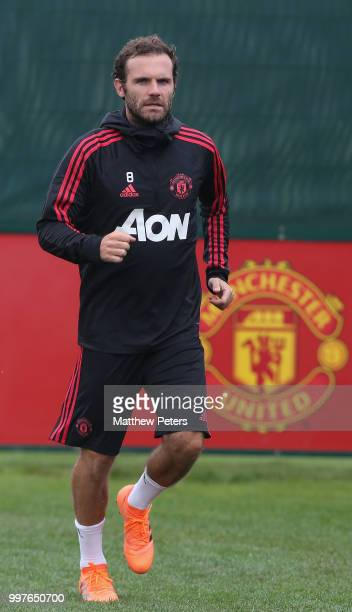 Juan Mata of Manchester United in action during a first team training session at Aon Training Complex on July 13 2018 in Manchester England