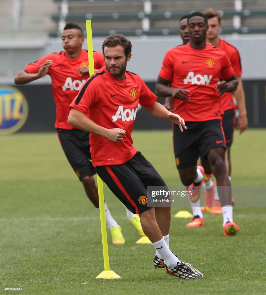 Juan Mata of Manchester United in action during a training session as part of their pre-season tour of the United States on July 19, 2014 in Los Angeles, California.