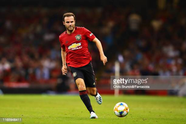 Juan Mata of Manchester United in action during the 2019 International Champions Cup match between Manchester United and AC Milan at Principality...