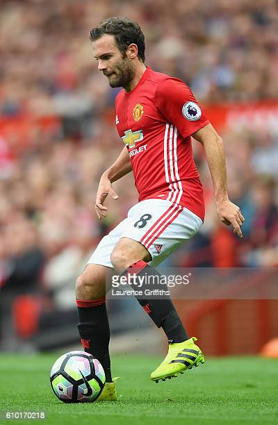 Juan Mata of Manchester United in action during the Premier League match between Manchester United and Leicester City at Old Trafford on September 24...