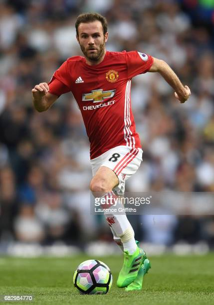 Juan Mata of Manchester United in action during the Premier League match between Tottenham Hotspur and Manchester United at White Hart Lane on May 14...