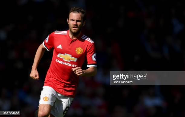 Juan Mata of Manchester United in action during the Premier League match between Manchester United and Watford at Old Trafford on May 13 2018 in...