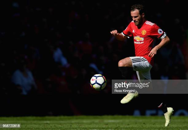Juan Mata of Manchester United in action during the Premier League match between Manchester United and Watford at Old Trafford on May 13, 2018 in...