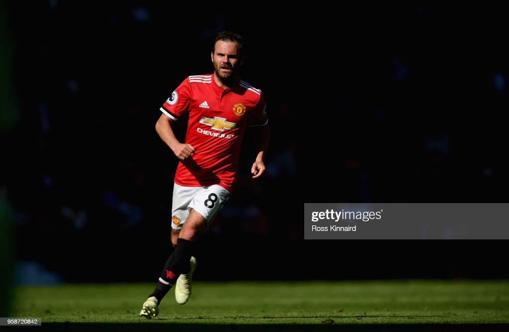 Juan Mata of Manchester United in action during the Premier League match between Manchester United and Watford at Old Trafford on May 13, 2018 in Manchester, England.