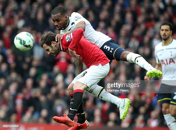 Juan Mata of Manchester United in action with Danny Rose of Tottenham Hotspur during the Barclays Premier League match between Manchester United and...