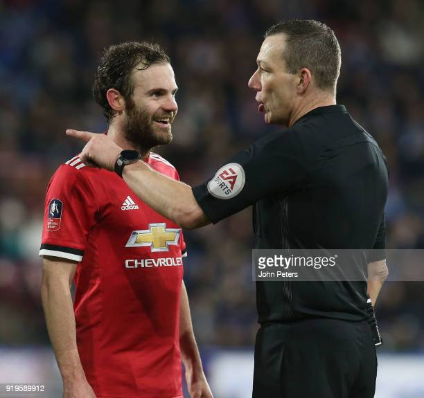 Juan Mata of Manchester United is told by referee Kevin Friend that his goal has been ruled out by the VAR system for offside during the Emirates FA...