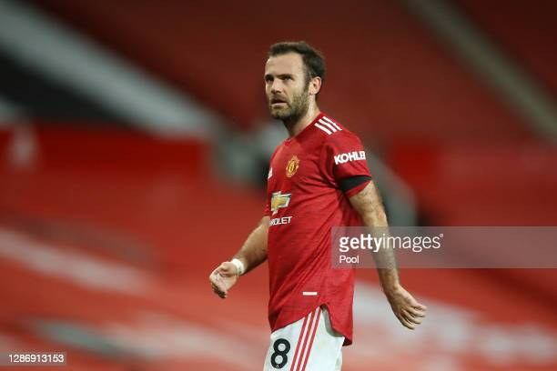 Juan Mata of Manchester United looks on during the Premier League match between Manchester United and West Bromwich Albion at Old Trafford on...